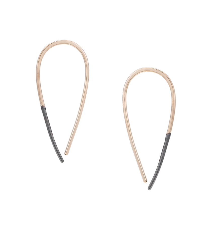 Small Black & Gold Teardrop Pull-Through Earrings
