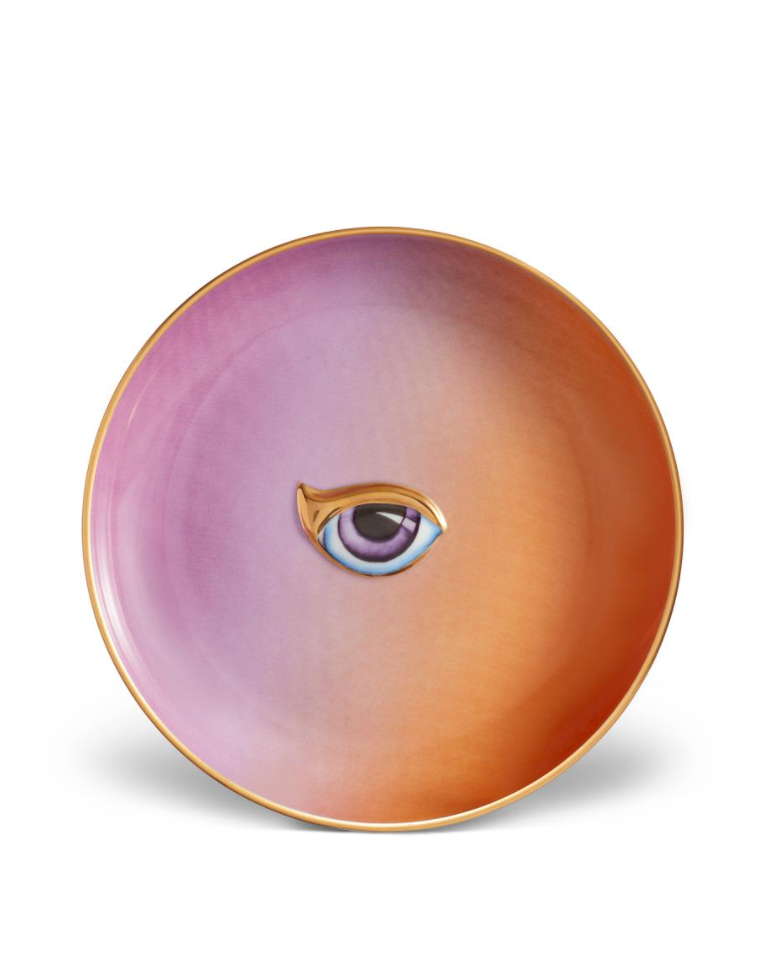 Lito-Eye Canape Plate in Purple+Orange
