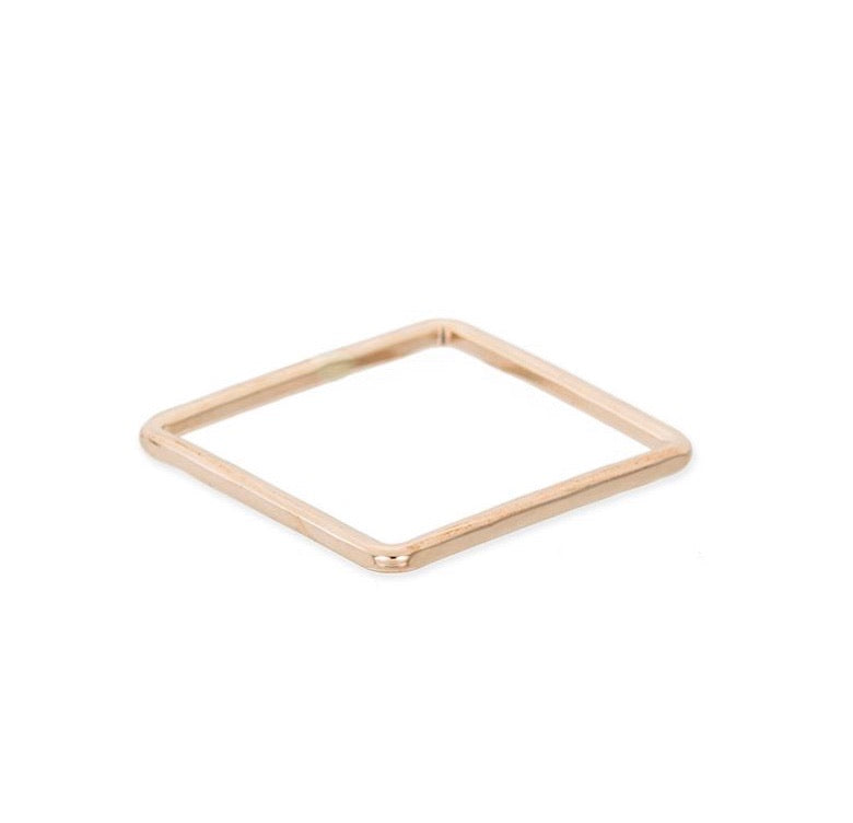 Thin Individual Square Gold Ring
