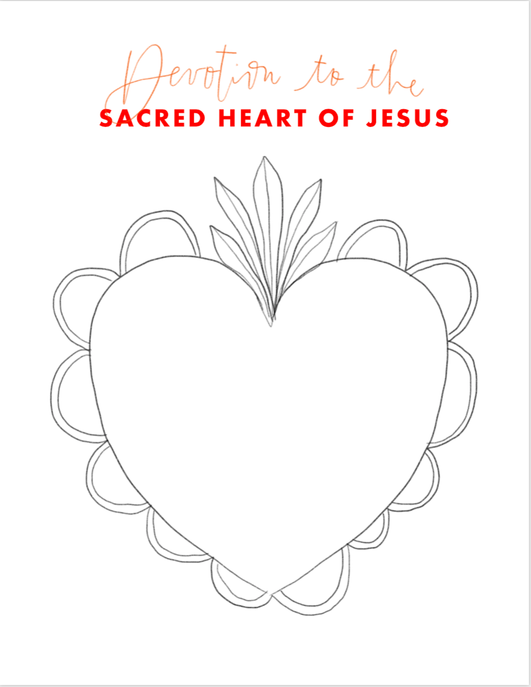 Devotion to the Sacred Heart of Jesus Coloring Page
