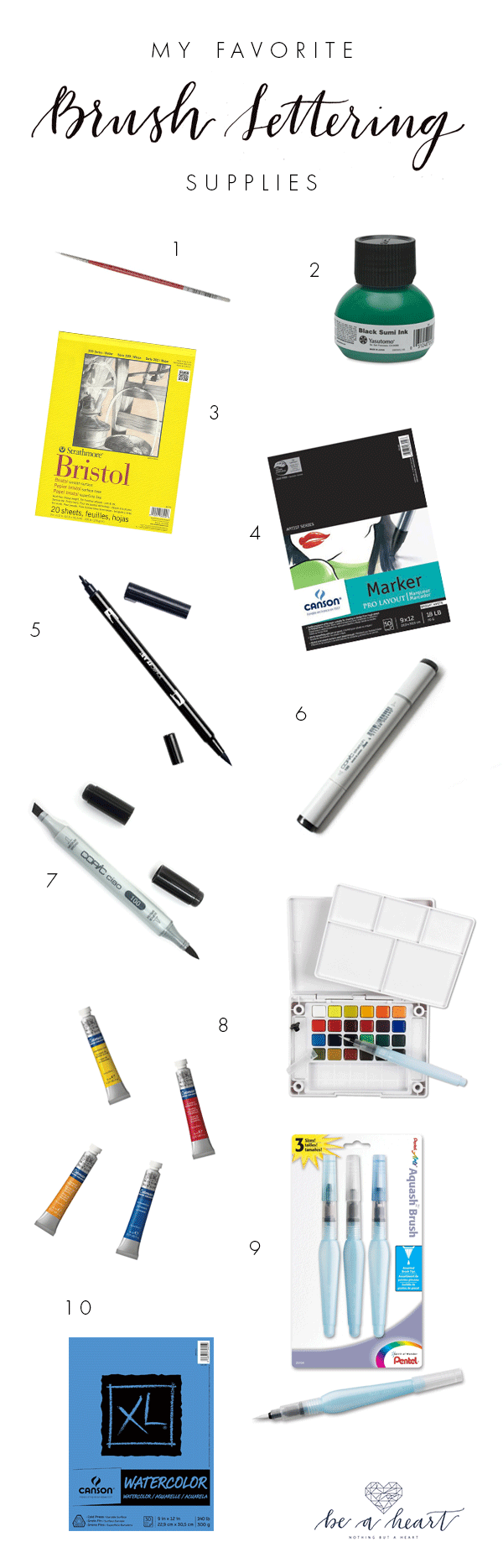 Basic Brush Lettering Supplies.