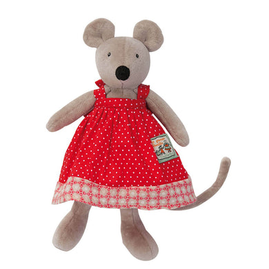 Stuffed animal - Tiny mouse with a polka-dot summer - From Moulin roty's la grande famille collection - Moulin roty