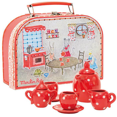 Valise play set - Red ceramic tea set - From Moulin roty's la grande famille collection - moulin roty