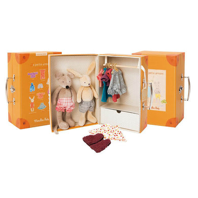Valise play set - Little valise armoire with 2 stuffed animals and 9 pieces of clothes to dress them up - From Moulin Roty's la grande famille collection - Moulin Roty