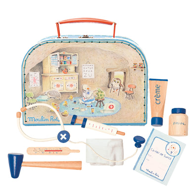 Valise play set - Wooden doctor tools and valise for children - From moulin roty's la grande famille - Moulin roty