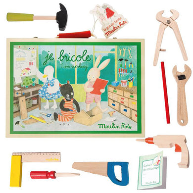 Kids tool kit - Wooden tool valise for children - From Moulin roty's la grande famille collection - Moulin Roty