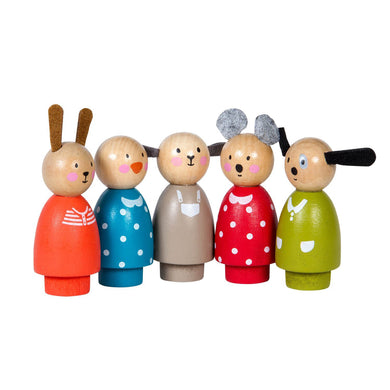 Wooden toys dolls - Set of wooden characters (5 pieces) - From Moulin roty's la grande famille collection - Moulin Roty