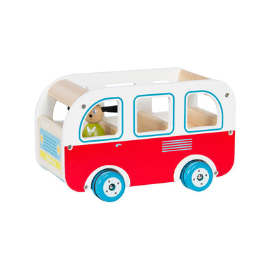 Wooden toy-car - Red and white Wooden bus - From Moulin roty's la grande famille collection - Moulin Roty