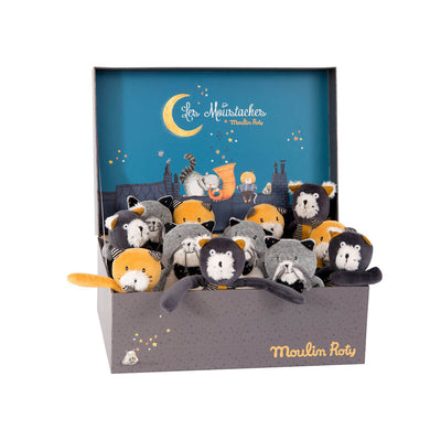 Miniature plush cats - Display of 12 assorted miniature plush cats - From Moulin roty's les moustaches collection - Moulin Roty