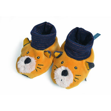 Baby slipper - baby slippers yellow cat slippers - From Moulin roty's les moustaches collection - Moulin Roty