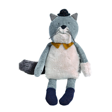 Stuffed animal - Fernand the light grey cat - From Moulin Roty's les moustaches collection - Moulin Roty
