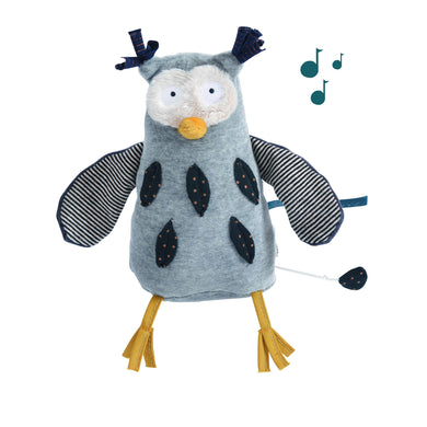 Musical animal - Musical Stuffed owl - From Moulin roty's les moustaches collection - Moulin Roty
