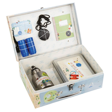 Valise play set - Explorer's kit for children with binoculars, water bottle, a pocket compass , an explorer's notebook and a tin box - From moulin roty's le jardin collection - Moulin Roty