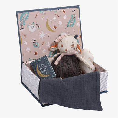 Book box - book shaped box with sheep stuffed animal - From Moulin Roty's apres la pluie collection - Moulin Roty