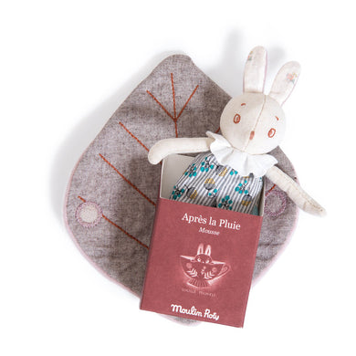 Stuffed animal - Little rabbit stuffed animal in a box and a fabric leaf - From Moulin Roty's apres la pluie collection