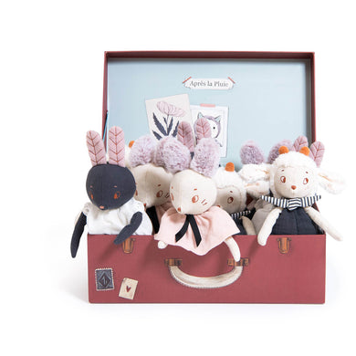 Stuffed animal - Display of 9 assorted stuffed animals - From Moulin roty's apres la pluie collection - moulin roty