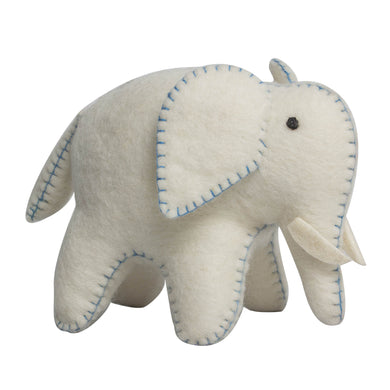 Felt animal toy - Felt White Elephant with Blue Stitching - From Papoose's felt animals collection - Papoose
