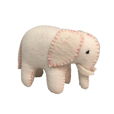 Felt animal toy - Felt White Elephant with Pink Stitching - From Papoose's felt animals collection - Papoose
