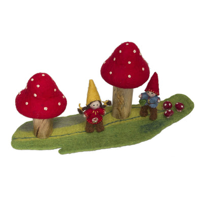 Felt Fairy House - Fairy World - Toadstool Garden - From Papoose's felt fairy house collection - Papoose