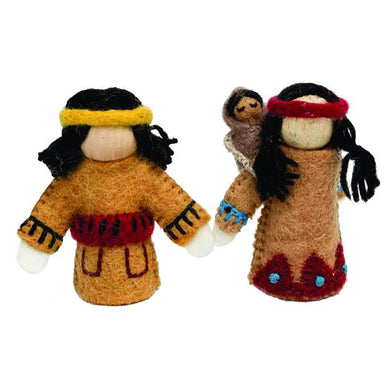 Felt dolls - Native american family felt dolls - Children toys - From Papoose's felt dolls collection - Papoose