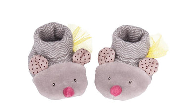 Les Pachats - Grey Mouse Slippers (0-6 months)