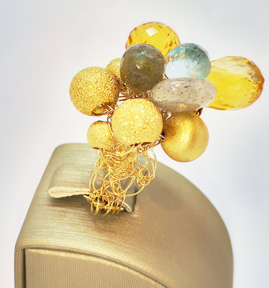 Anello Net-Work Collection in oro e pietre naturali