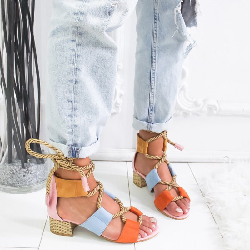 Fashion Middle Heels Buckle Strap Sandals
