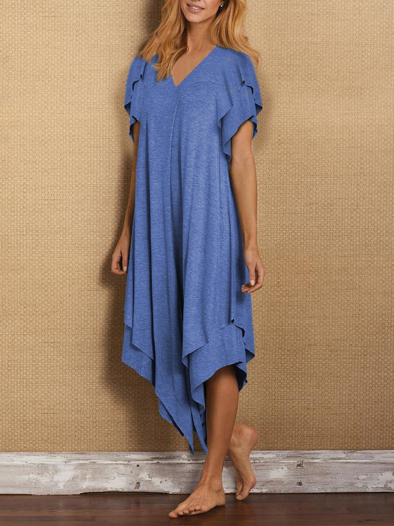 Cotton-Blend Asymmetrical Short Sleeve Dresses