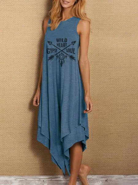 Sleeveless Asymmetric Hippie Gypsy Letter Casual Dresses
