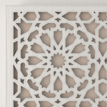 Load image in gallery viewer, Arabic white Andalusian wooden lattice wall light detail