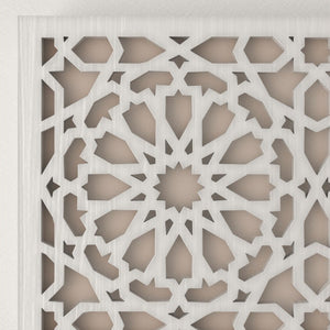 Arabic white wooden lattice wall lamp Andalus detail