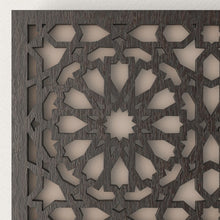 Load image in the gallery viewer, Arabic wooden lattice wall light Andalus wenge details