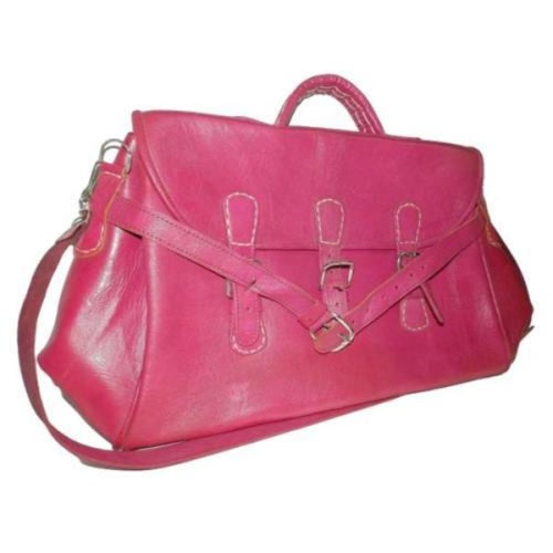 bolso marroqui cuero natural rosa