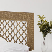 Load image in gallery viewer, gold colored lattice headboard