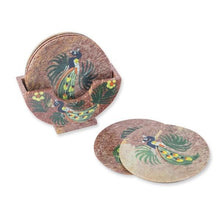 Upload image to gallery viewer, 6 peacock onyx coasters