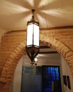 Moroccan wrought iron and crystal lamp