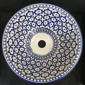 Moroccan ceramic basin from Fez crafts