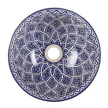 Load image in gallery viewer, blue Fez ceramic Moroccan washbasin