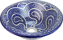 Load image in gallery viewer, Moroccan ceramic washbasin from Fez painted