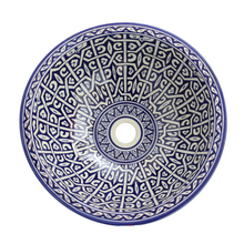 Load image in gallery viewer, Fez hand painted ceramic Moroccan washbasin