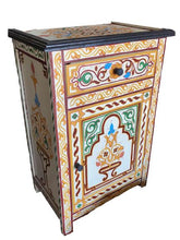 Load image into gallery viewer, White hand painted Moroccan bedside table