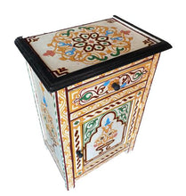 Load image in gallery viewer, Moroccan hand painted bedside table morocco