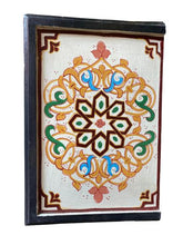 Load image in gallery viewer, White hand painted Moroccan bedside table detail