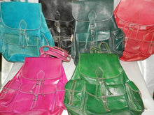 Load image in the gallery viewer, Moroccan colored leather backpacks