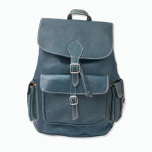 Load image in gallery viewer, dark green Moroccan backpack pockets