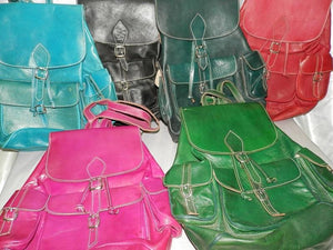 Moroccan backpack natural leather colors