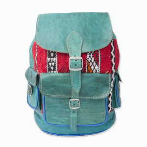 Moroccan blue leather tapestry backpack