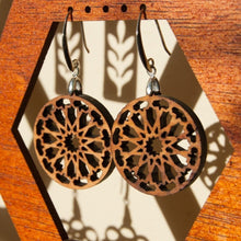 Load image in gallery viewer, Fahem wood and silver arabic earrings