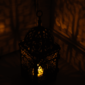 Moroccan candle holder lit candles 25cm