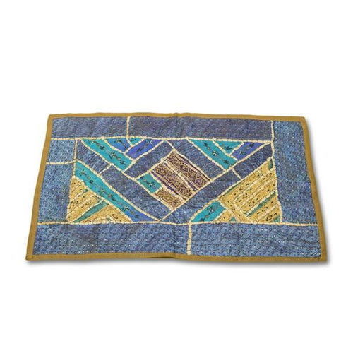 tapiz artesanal rectangular India azul